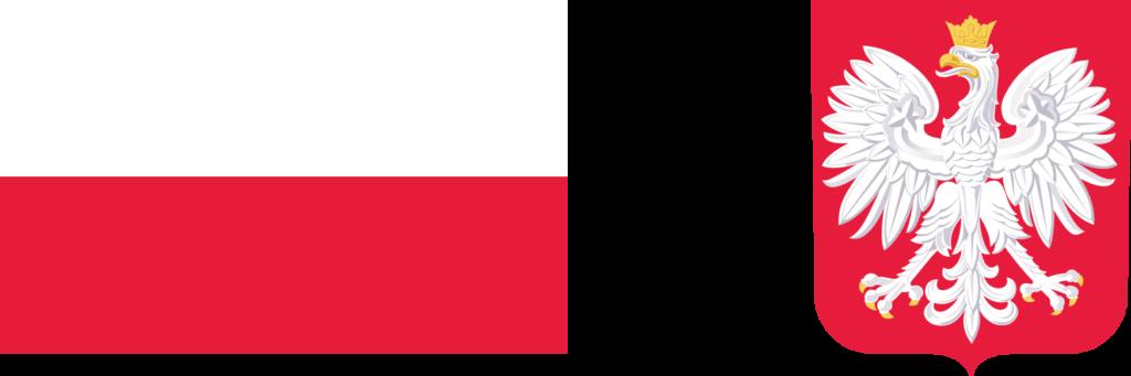 Logotyp FDS - od lewej flaga Polski i godło Polski